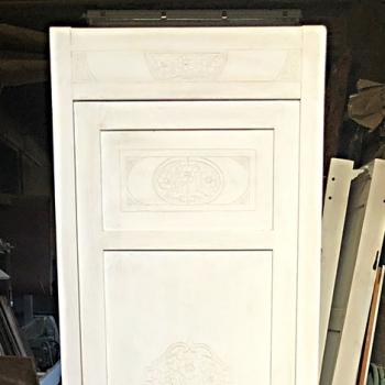 Armadietto con cassetto e ripiano interni bianco shabby destro