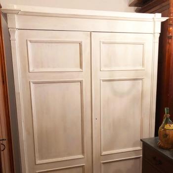 Armadio toscano originale smontabile bianco shabby a sei bugne