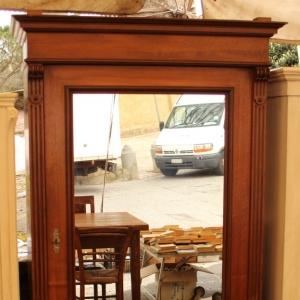 Antichita toscana armadio un anta specchio noce for Specchio noce