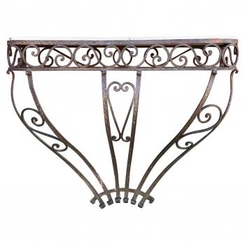Consolle in ferro con piano in marmo rosa