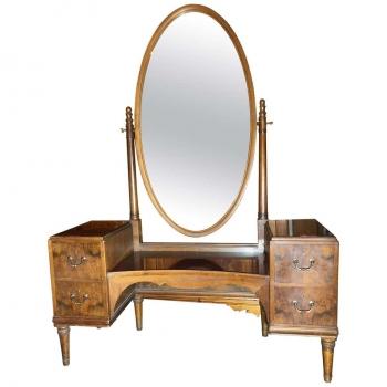 Consolle in noce con specchio ovale rotante