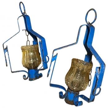 Coppia di lanterne blu originali anni 70