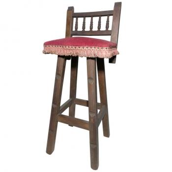 Coppia di sgabelli in faggio con sedile bordeaux