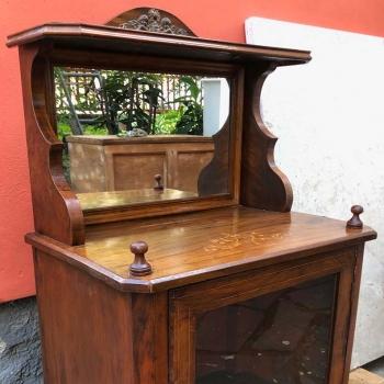 Credenzino in noce toscano originale antico a vetro
