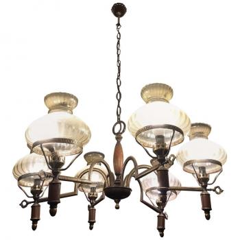 Lampadario anni 60 in legno metallo e vetro