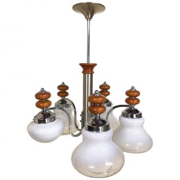 Lampadario originale a cinque luci anni 70 in cromo legno e vetro