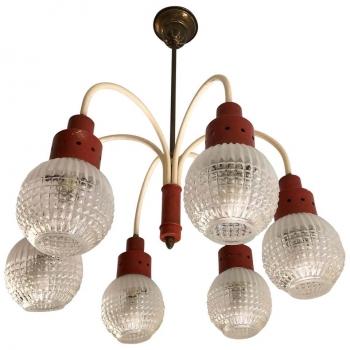 Lampadario originale italiano degli anni 70 a sei luci