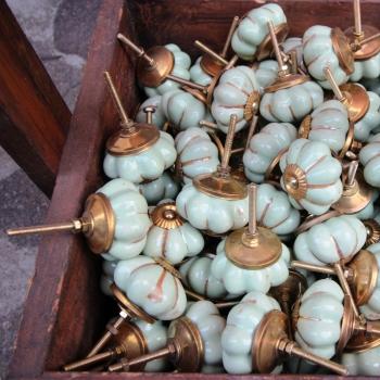 Pomello turchese oro