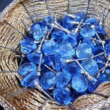 Pomello vetro prisma blu