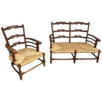 Set divano e poltrona originali anni 50 in castagno con paglia