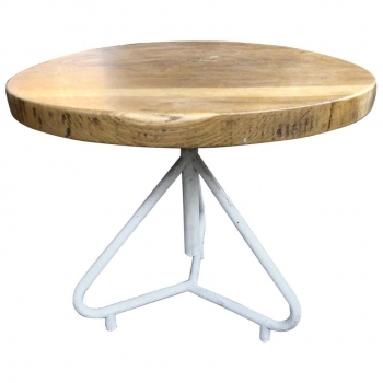 Tavolo rotondo anni 60 in rovere con base in ferro e vite