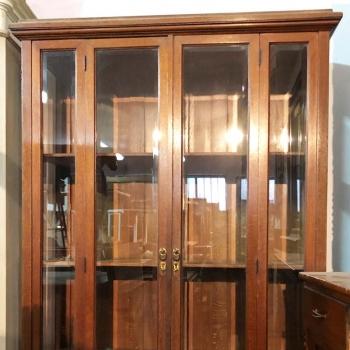 Vetrina in rovere Toscana antica originale con vetri molati