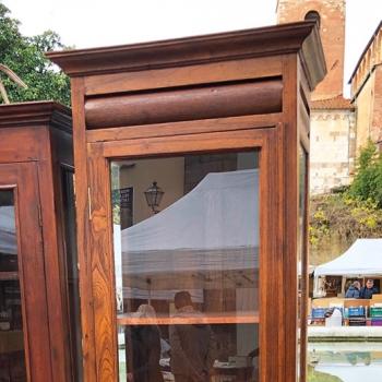 Vetrinetta libreria in quercia con tre ripiani